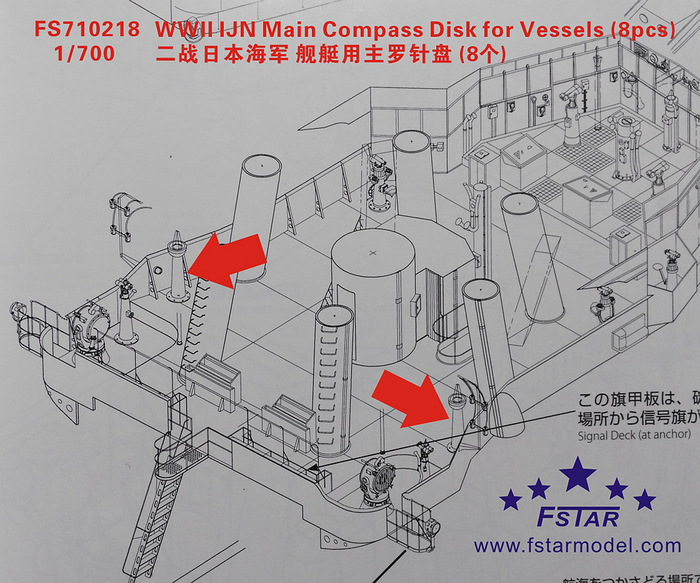 FS710218 1/700 WWII IJN Main Compass Disk for Vessels (8pcs)