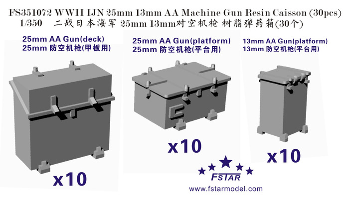 FS351072 1/350 WWII IJN 25mm 13mm AA Machine Gun Resin Caisson (30pcs)
